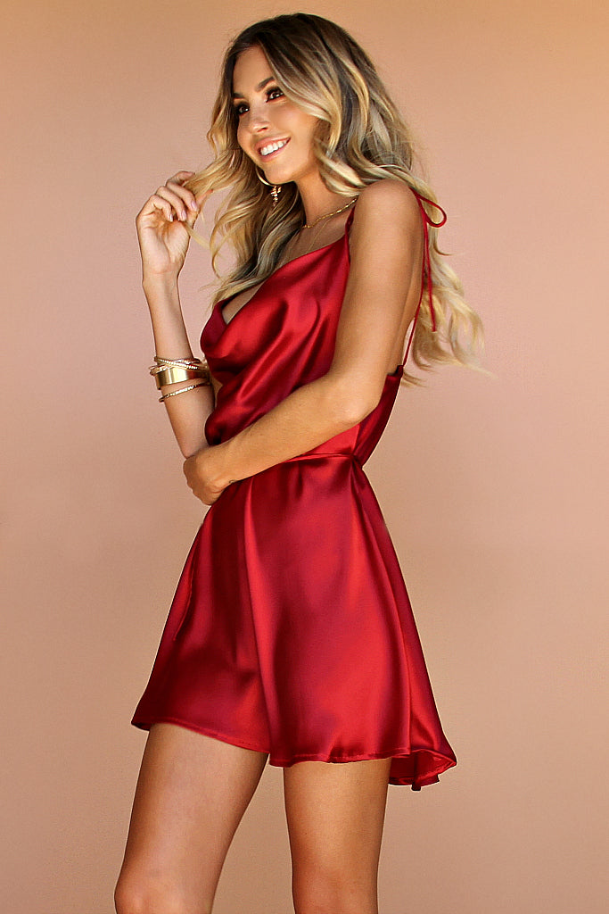 RASPBERRY SILK - LOTTIE BOW SLIP MINI DRESS