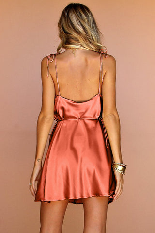 CORAL SILK - LOTTIE BOW SLIP MINI DRESS