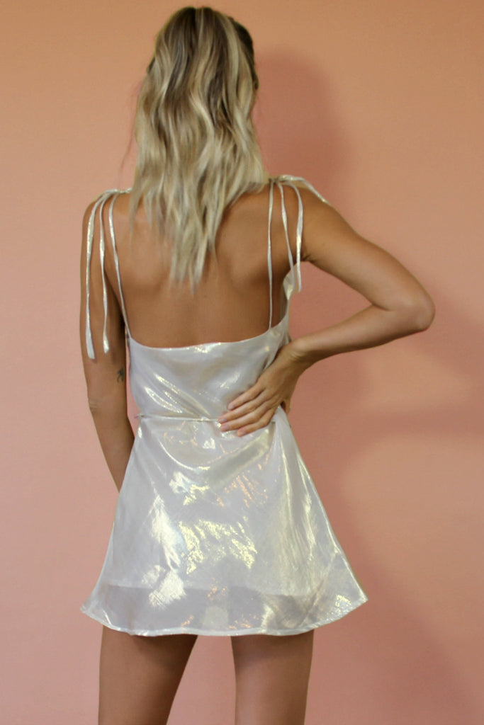 HIGH SHEEN METALLIC SILK - LOTTIE BOW SLIP MINI DRESS