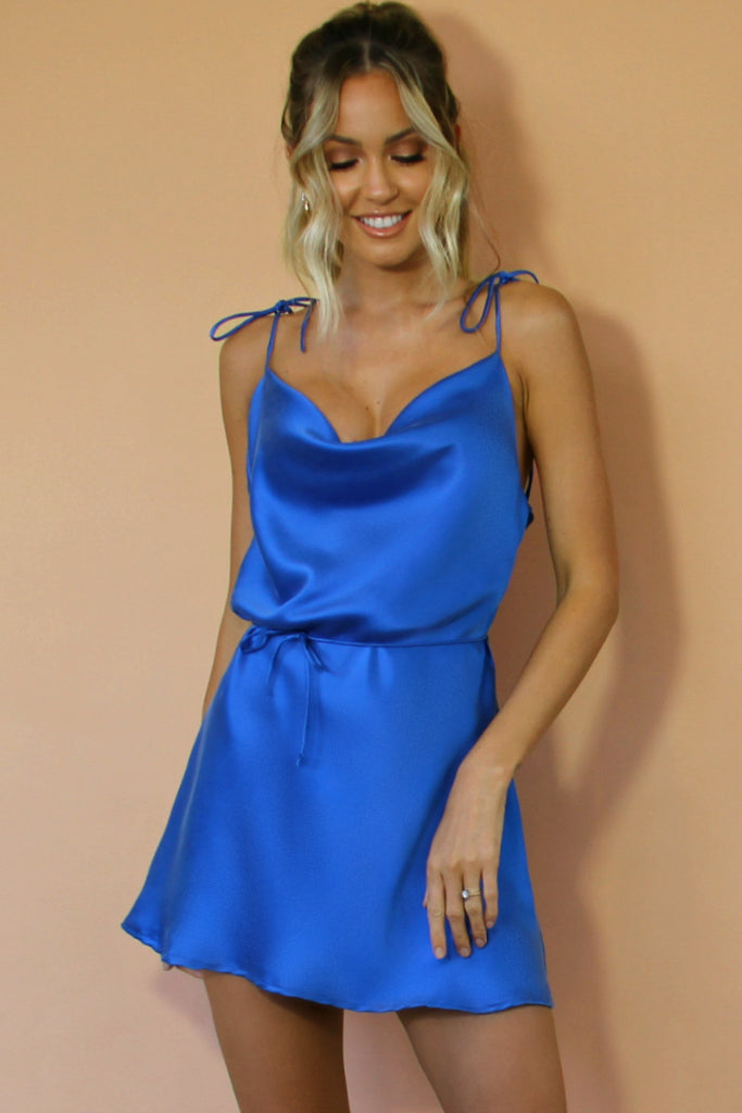 COBALT SILK - LOTTIE BOW SLIP MINI DRESS