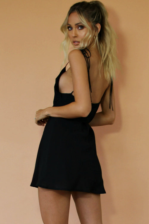 NIGHT NYMPH SILK - LOTTIE BOW SLIP MINI DRESS