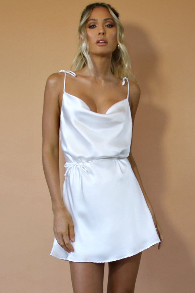PEARL SILK - LOTTIE BOW SLIP MINI DRESS