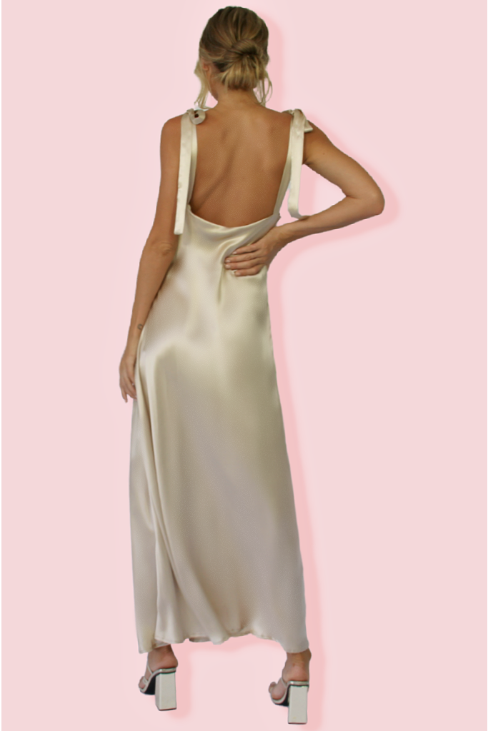 MARIA GOWN - OYSTER SILK