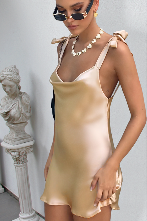 MARIA MINI DRESS - CHAMPAGNE SILK