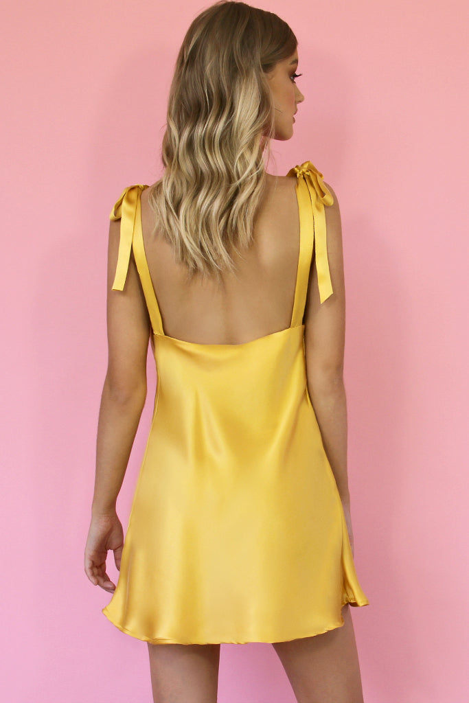 MARIA MINI DRESS - GOLD SILK