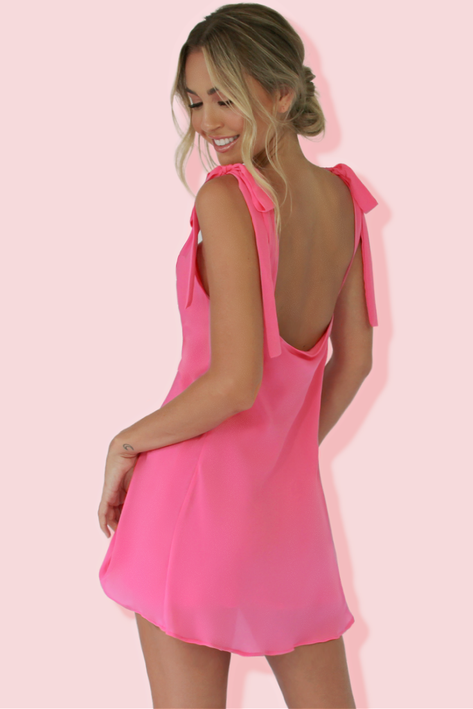 MARIA MINI DRESS - ROSE SILK