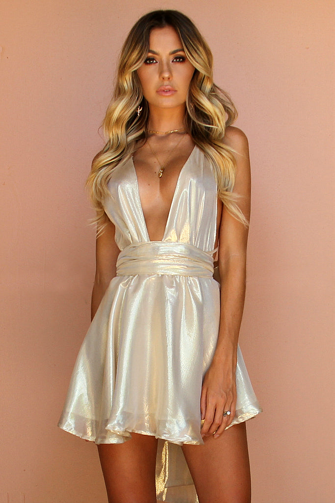 HIGH SHEEN GOLD SILK - TEASER MINI DRESS