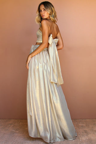 HIGH SHEEN GOLD SILK - WRAP TWO PIECE GOWN