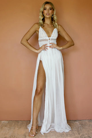 MILA TWO PIECE GOWN - PEARL SILK