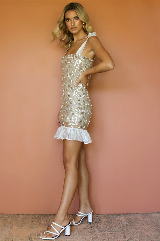 MONET MINI DRESS - EMBELLISHED FLORA PEARL
