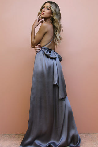 SATIN SILK SLATE - MULTIWAY GOWN