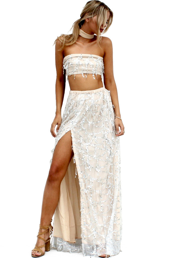 EMBELLISHED NEARLY NAKED - TWO PIECE GOWN