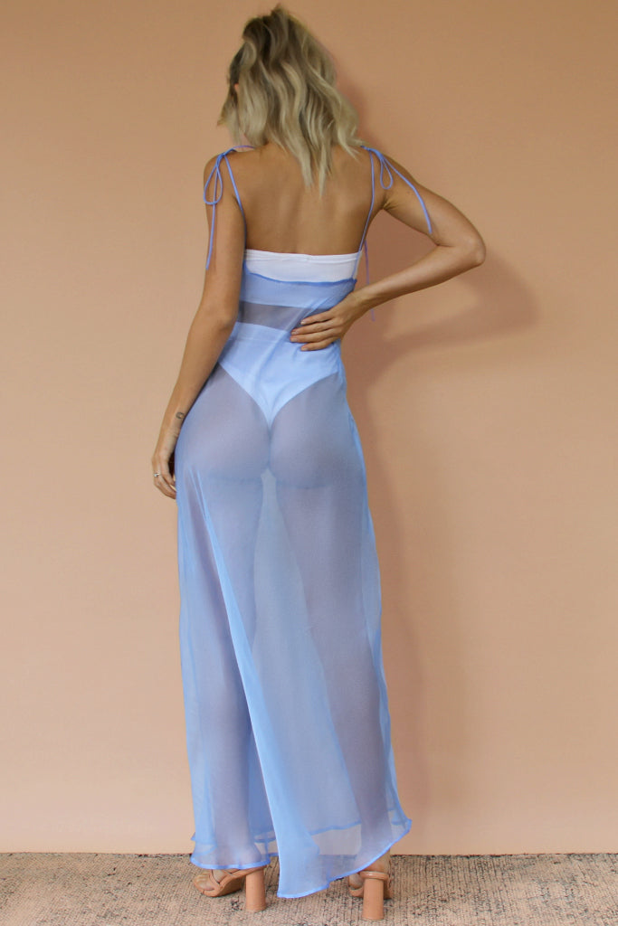 FROSTED BLUE SHEER SILK - OLIVIA GOWN
