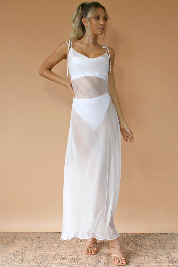 WHITE SHEER SILK - OLIVIA GOWN