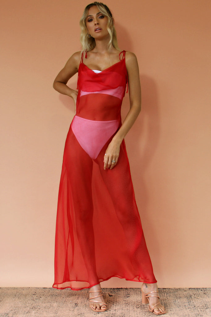 SCARLET SCANDAL SHEER SILK - OLIVIA GOWN