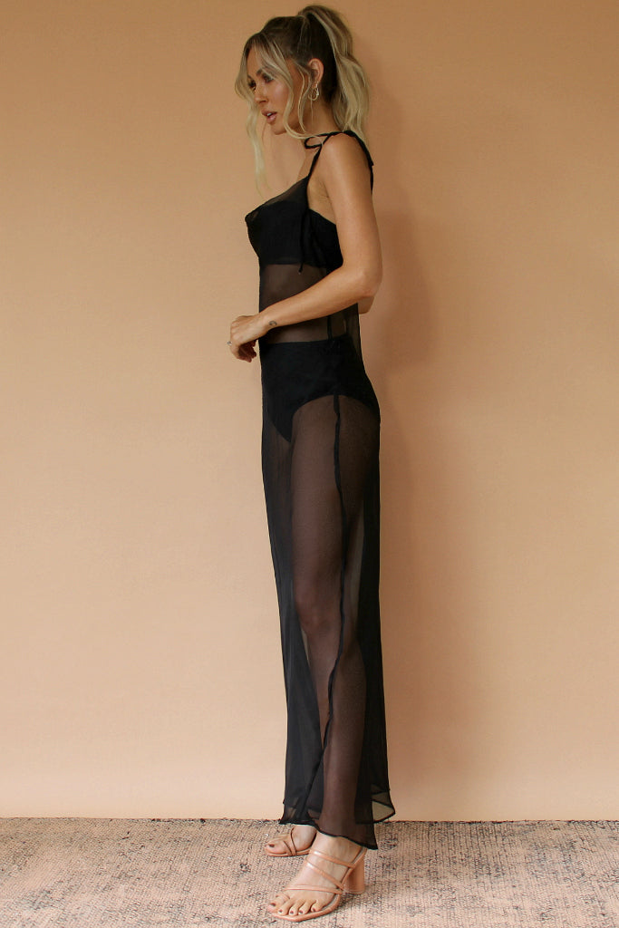BLACK SHEER SILK - OLIVIA GOWN