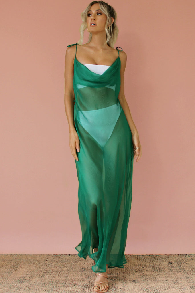 EMERALD SHEER SILK - OLIVIA GOWN