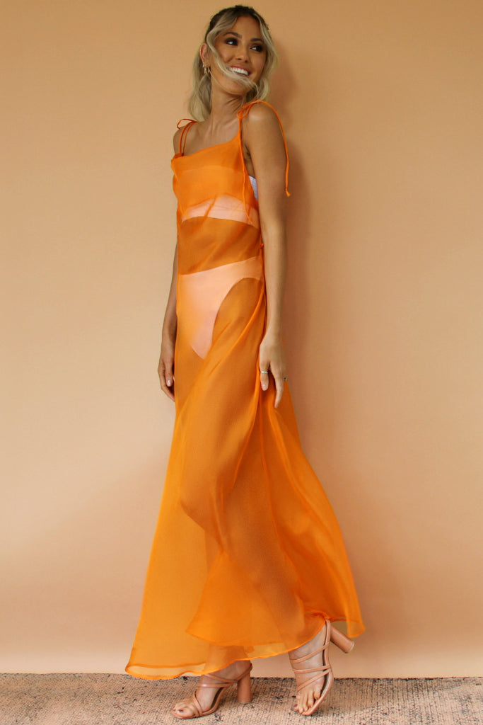 TANGERINE DREAM SHEER SILK - OLIVIA GOWN