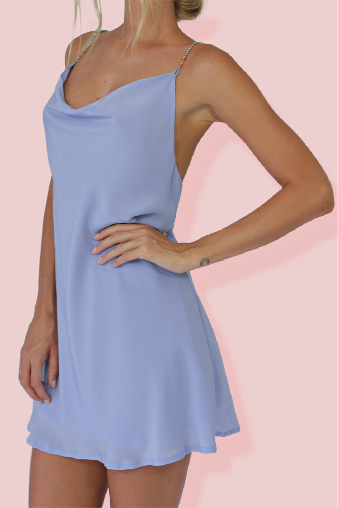 PIXIE MINI DRESS - VIENNA SKY SILK & EMBELLISHED STRAPS