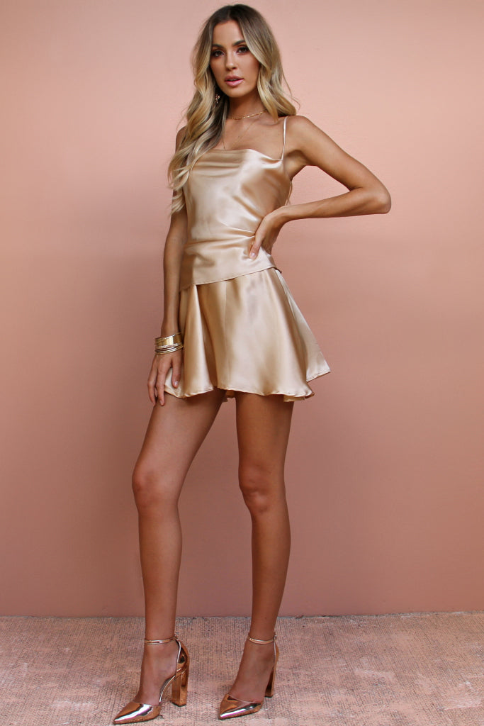 POPPY CAMI & SKIRT SET - CHAMPAGNE SILK