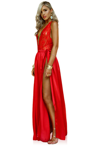PRIMROSE TWO PIECE GOWN - ROUGE SILK