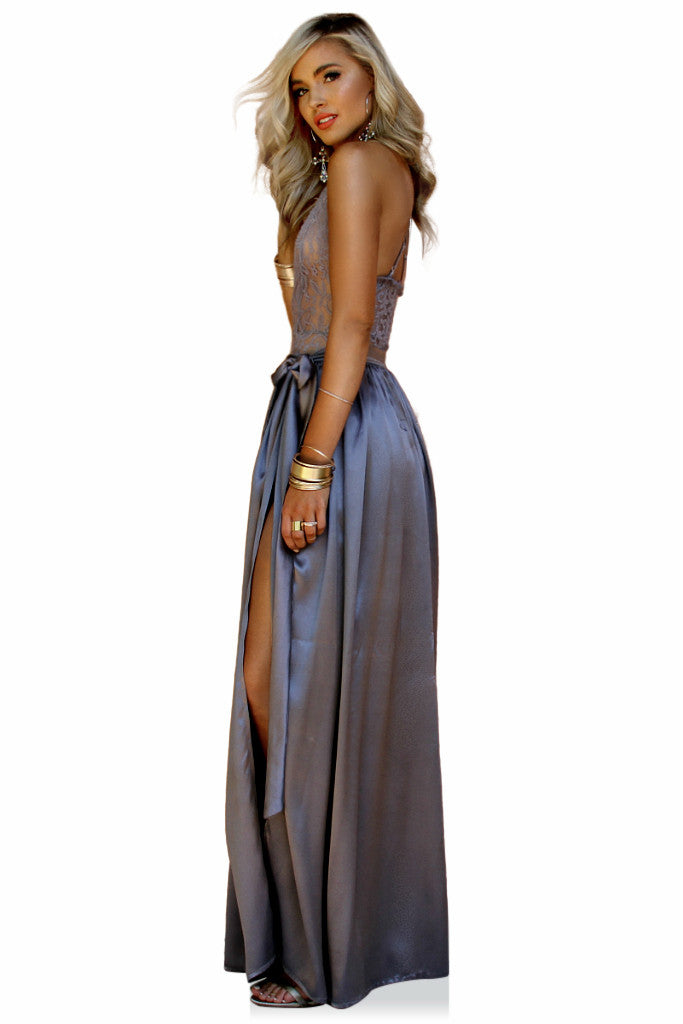 PRIMROSE TWO PIECE GOWN - SLATE SILK