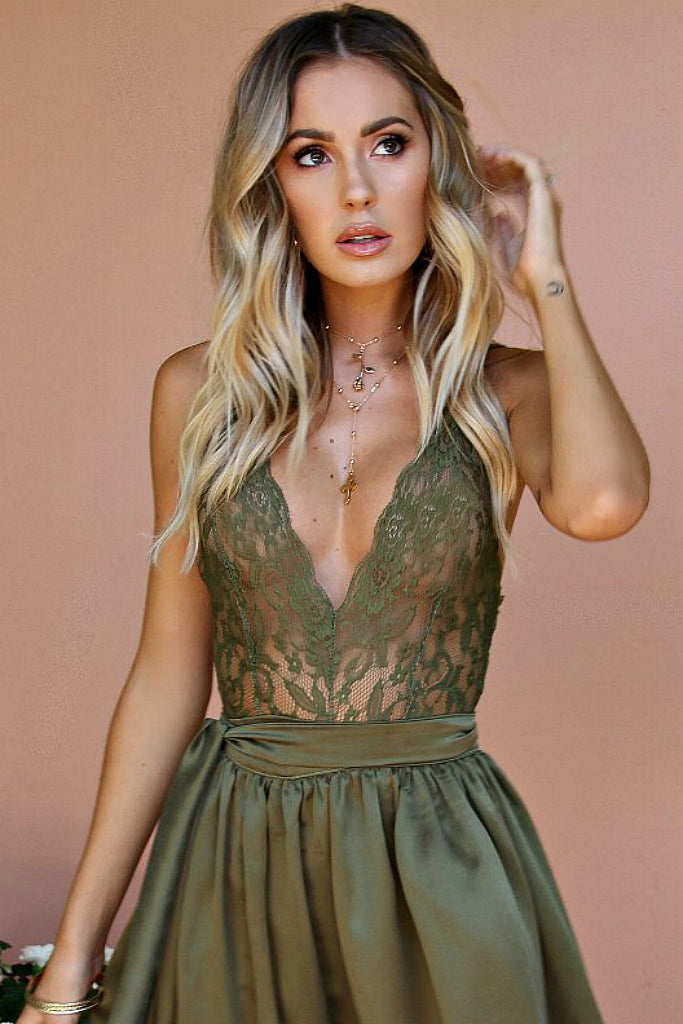 PRIMROSE BODYSUIT TOP - FOREST FRENCH LACE