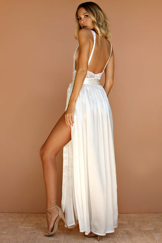 PRIMROSE TWO PIECE GOWN - PEARL SILK