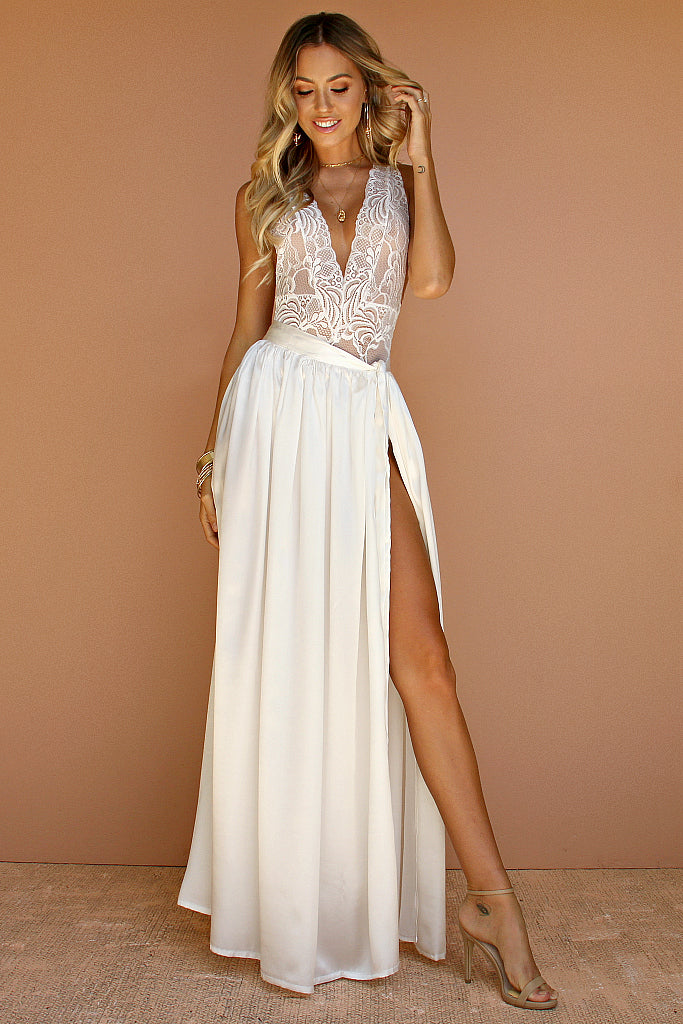 SALE - PRIMROSE TWO PIECE GOWN - PEARL SILK
