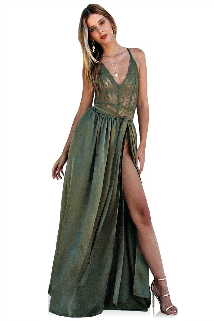 PRIMROSE TWO PIECE GOWN - FOREST SUEDED SILK