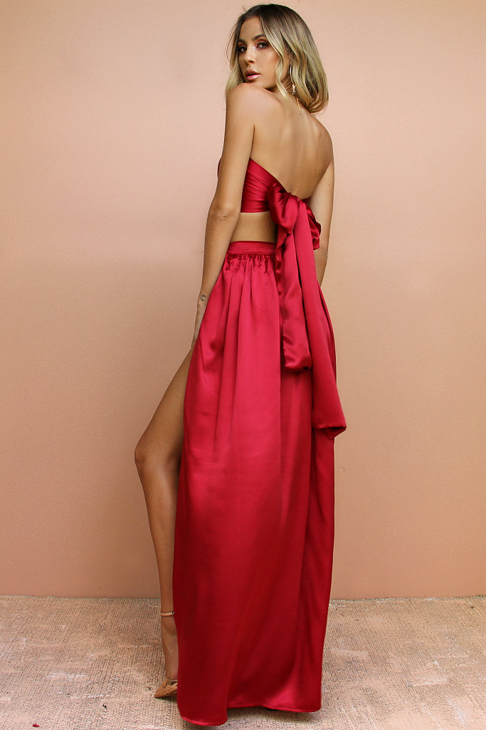 SATIN SILK RASPBERRY - WRAP TWO PIECE GOWN