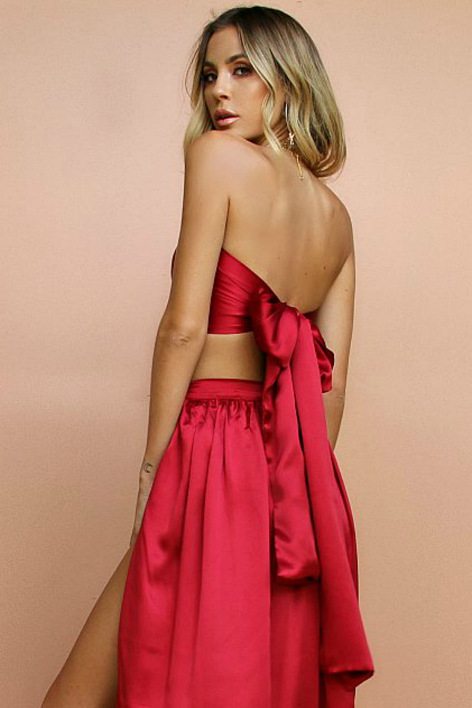SATIN SILK RASPBERRY - WRAP TOP