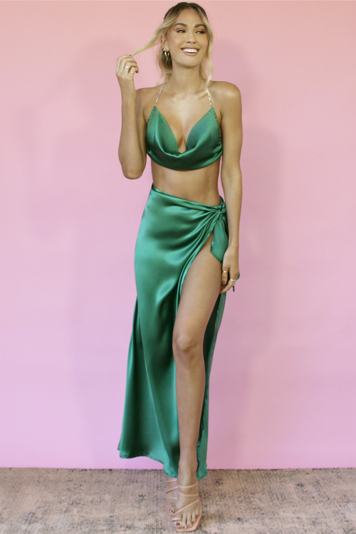 RUBY GOWN SET - EMERALD SILK