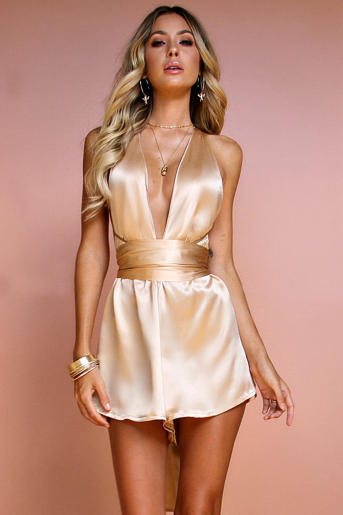 SATIN SILK CHAMPAGNE - MULTIWAY PLAYSUIT