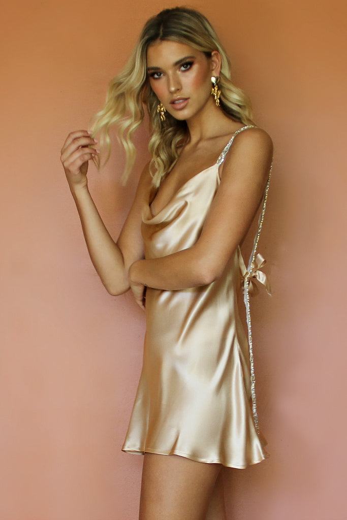SOFIA MINI DRESS - CHAMPAGNE SILK