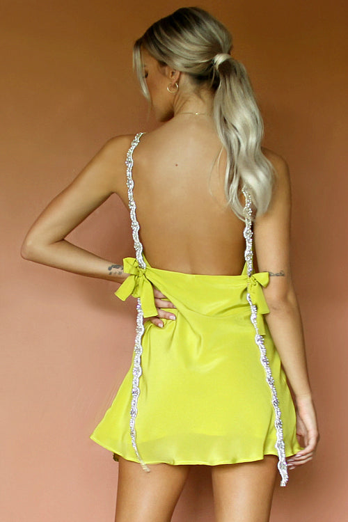 SOFIA MINI DRESS - CHARTREUSE SILK