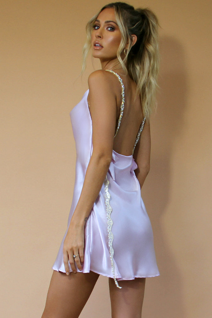 SOFIA MINI DRESS - LAVENDER SILK