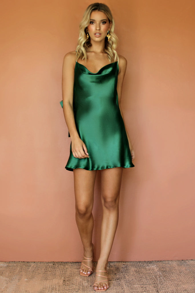 TILLY MINI DRESS - EMERALD SILK