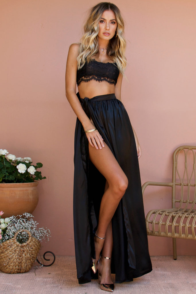 SALE - SATIN SILK NOIR - VALENTINE LACE TWO PIECE GOWN