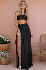SATIN SILK NOIR - VALENTINE LACE TWO PIECE GOWN