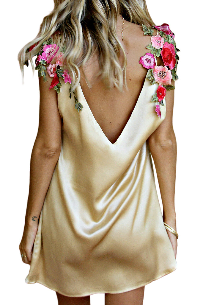 SATIN SILK CHAMPAGNE - VENETIAN SHOULDER SLIP