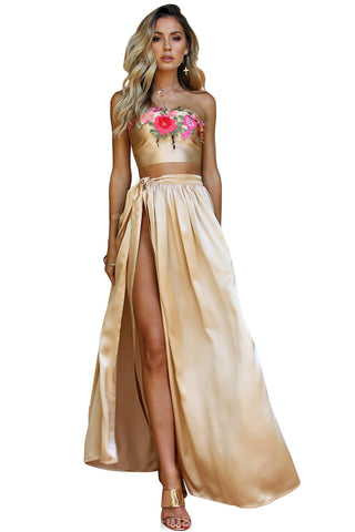 SATIN SILK CHAMPAGNE - VENETIAN WRAP TWO PIECE GOWN