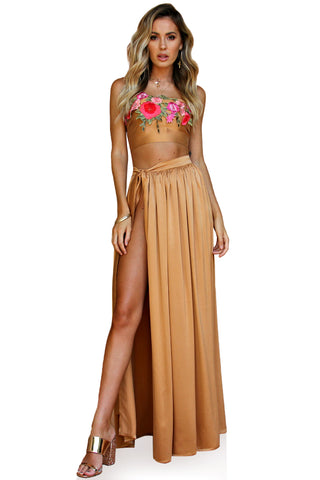 SUEDED SILK FOX - VENETIAN WRAP TWO PIECE GOWN
