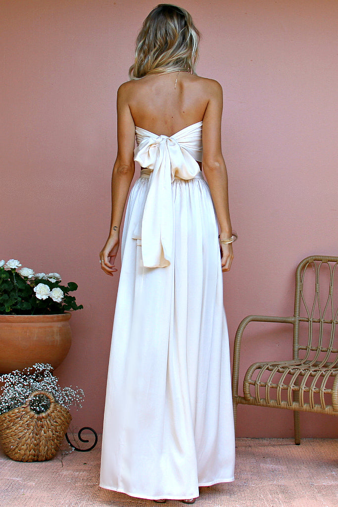 SALE - SATIN SILK PEARL - VENETIAN WRAP TWO PIECE GOWN
