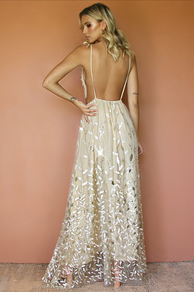 VERA GOWN - CHAMPAGNE SILK & EMBELLISHED FLORA