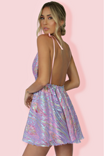 VERA MINI DRESS - DELPHINE & SOFT PINK SILK