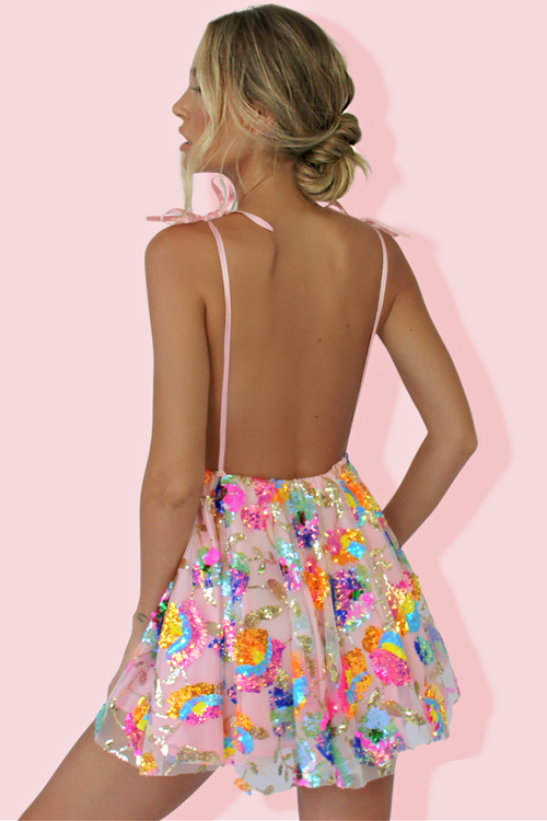VERA MINI DRESS - TROPICAL BARBIE & PINK SILK