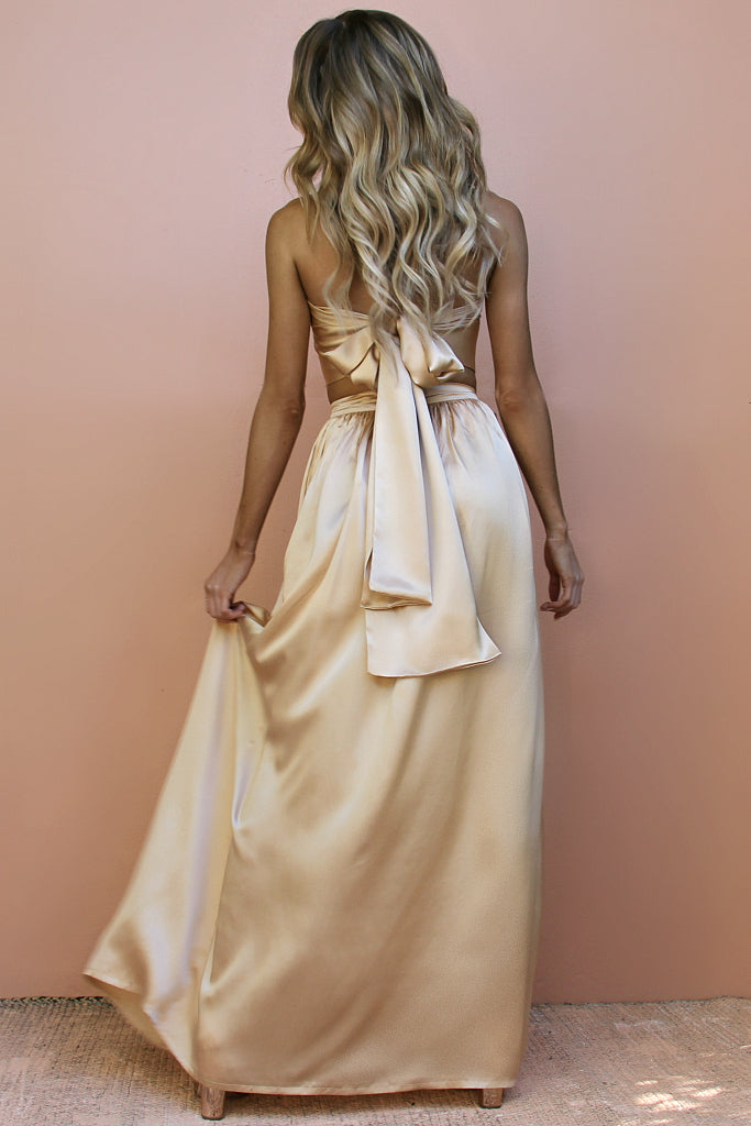 SATIN SILK CHAMPAGNE - WRAP TWO PIECE GOWN