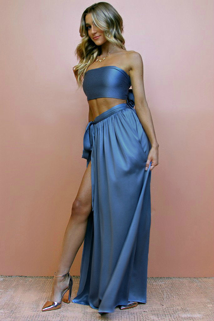SUEDED SILK COOL - WRAP TWO PIECE GOWN