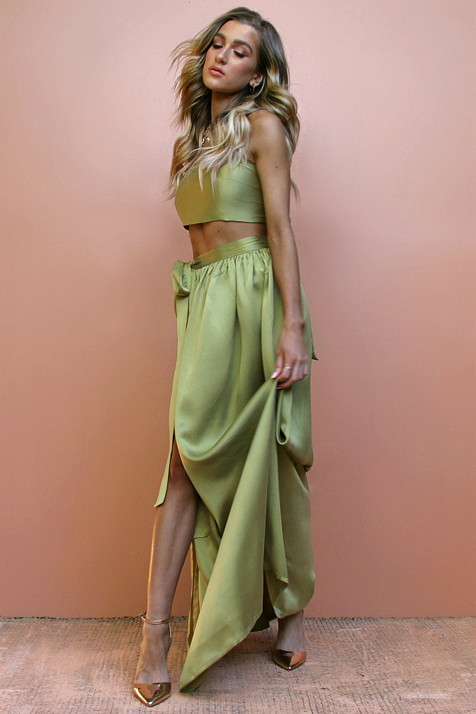 SUEDED SILK OLIVE - WRAP TWO PIECE GOWN